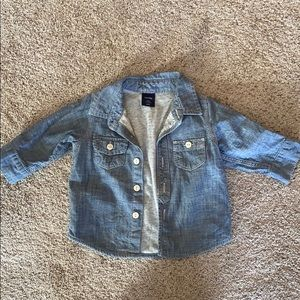 Baby gap 3-6 month lined chambray shirt